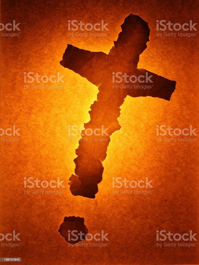 Paper cross glowing stock photo