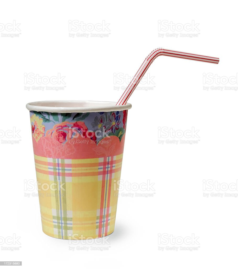 Paper cup and straw royalty-free stock photo
