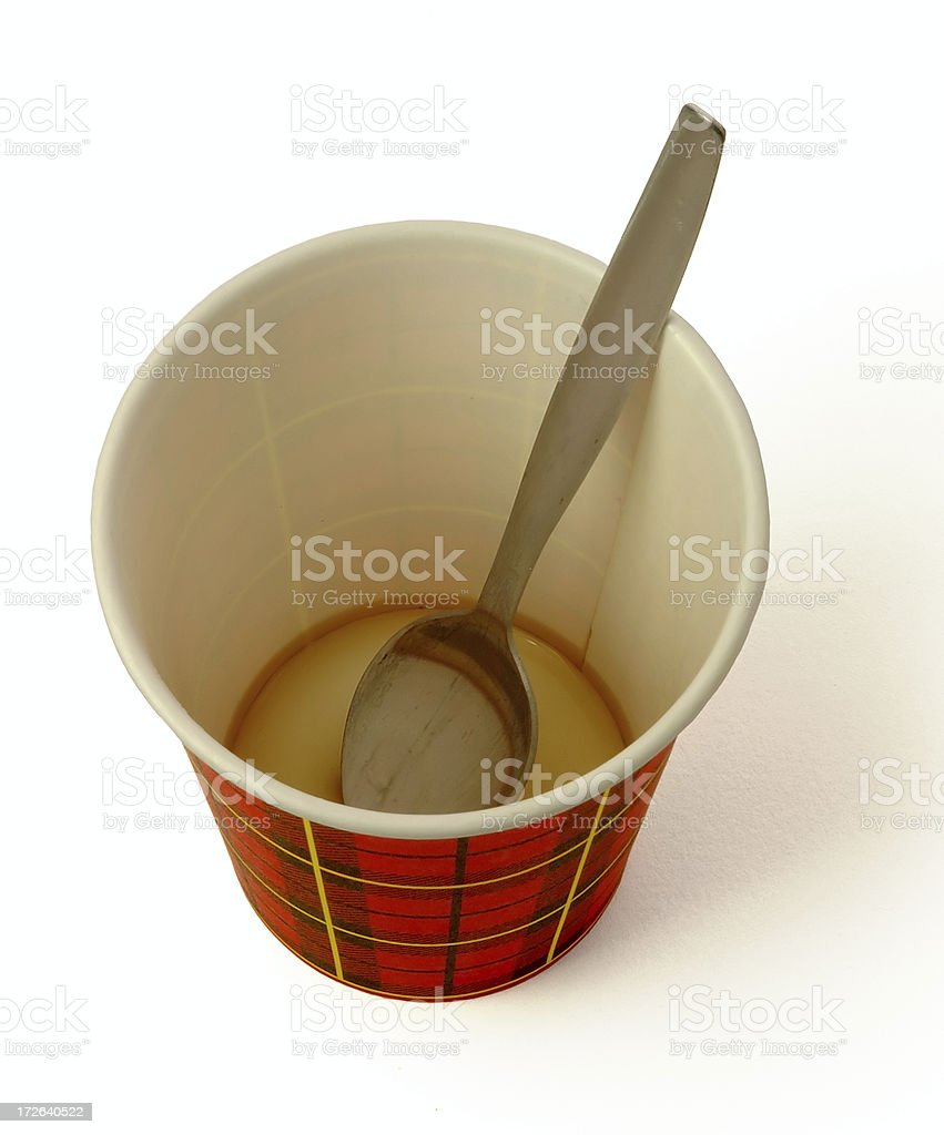Paper cup #3 empty, with spoon stock photo