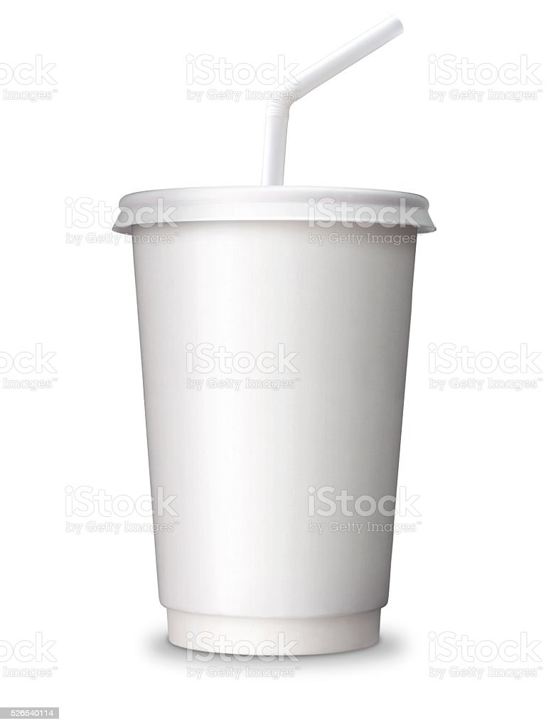 paper cup for soft drink, juice, soda with blank space stock photo
