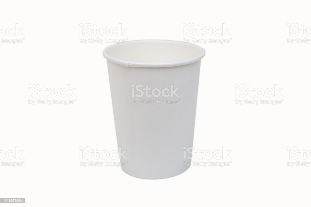 Paper cup isolated on white background stock photo