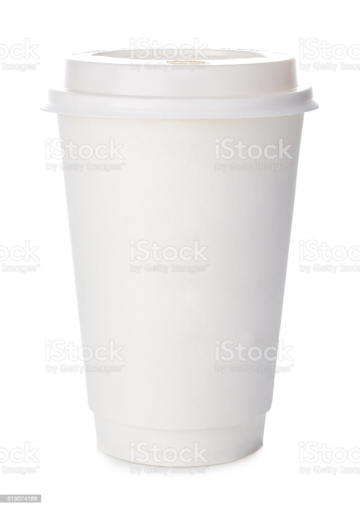 Paper cup of coffee close-up isolated on white background. stock photo
