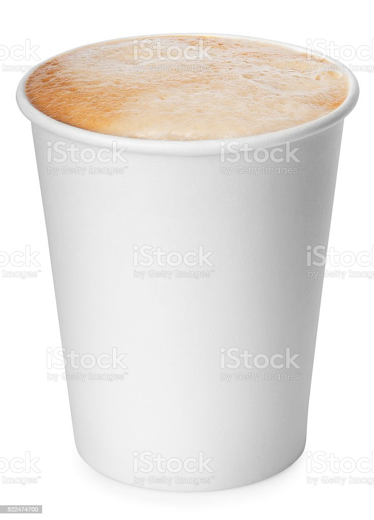 Paper cup of coffee isolated on white background stock photo
