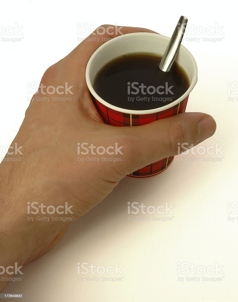 Paper cup #4 with coffee and hand royalty-free stock photo