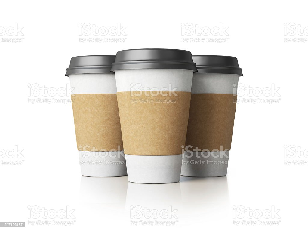 Paper cups with black caps stock photo