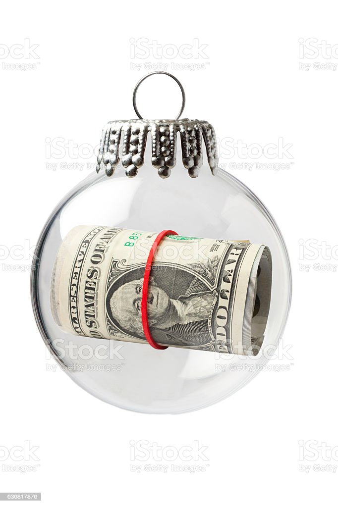 US Paper Currency in a Christmas Ornament stock photo