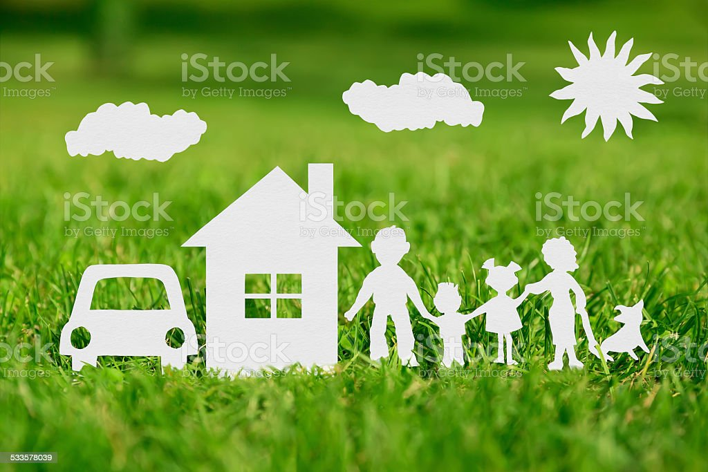 Paper cut of family with house and car stock photo