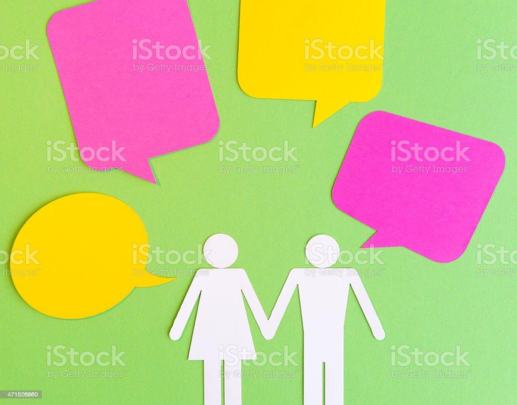 Paper Cut Symbols - Couple with Bubble Speech stock photo