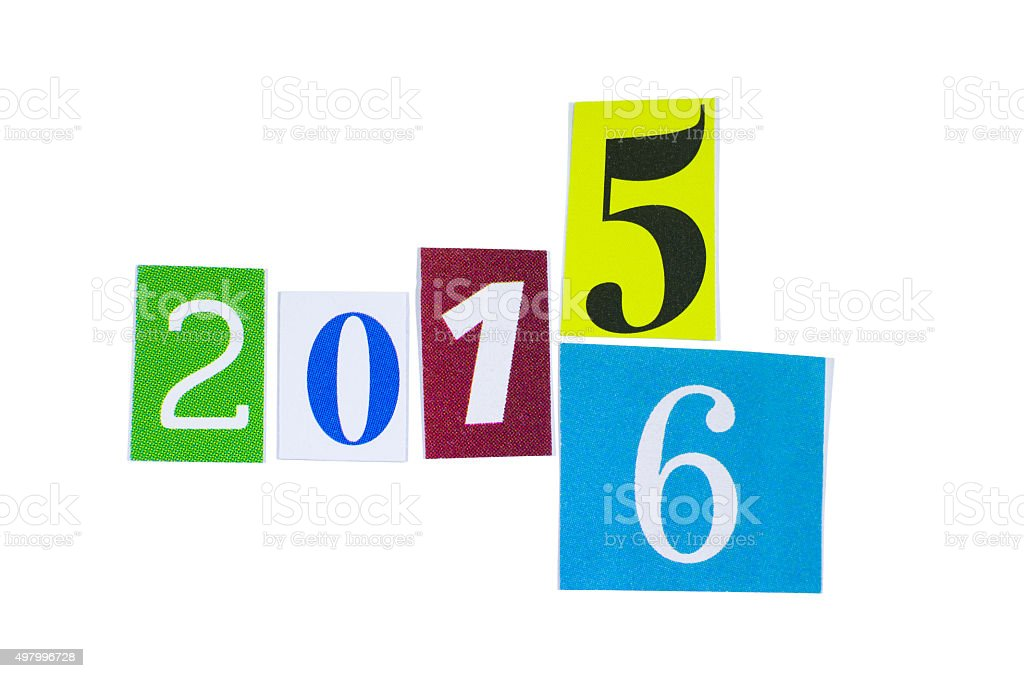 Paper Cutout 2015 and 2016 Year Numbers stock photo