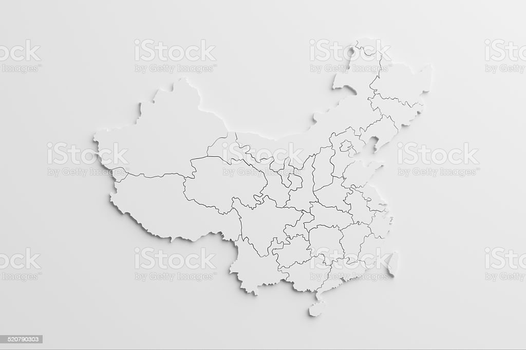 paper cutout national map of China with isolated background stock photo