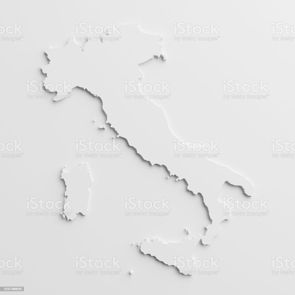 paper cutout national map of  Italy with isolated background stock photo