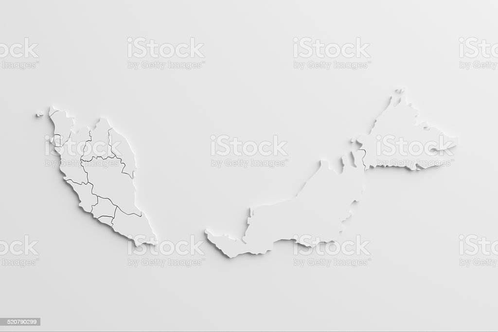 paper cutout national map of  Malaysia with isolated background stock photo