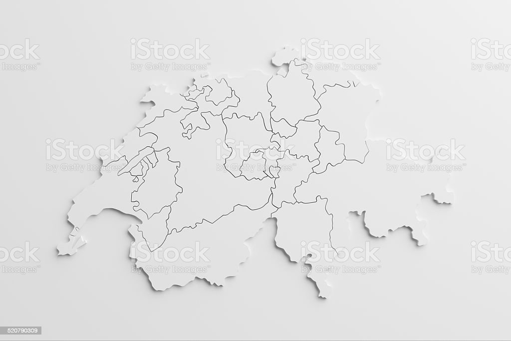 paper cutout national map of Switzerland with isolated background stock photo