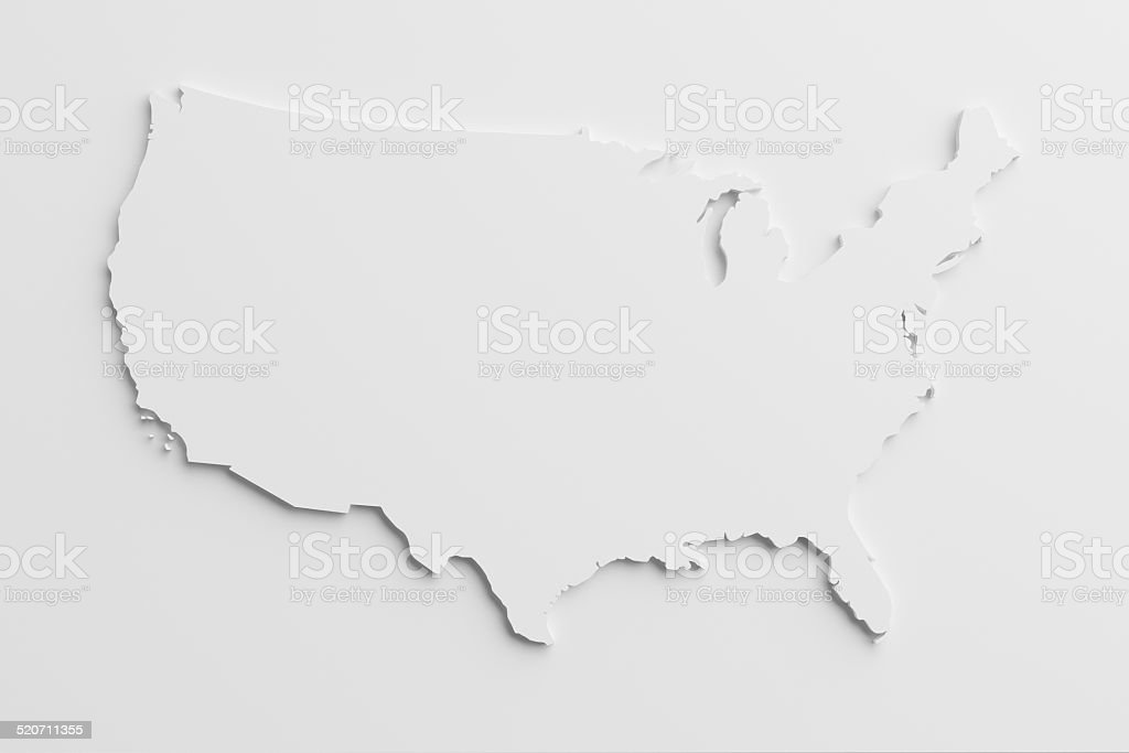paper cutout national map of United States with isolated background stock photo