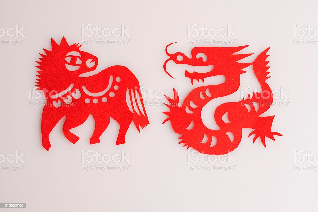 Paper cuts the Chinese zodiac animal-Dragon and Horse stock photo