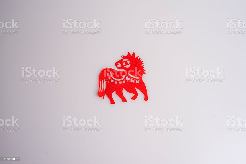 Paper cuts the Chinese zodiac animal-Horse stock photo
