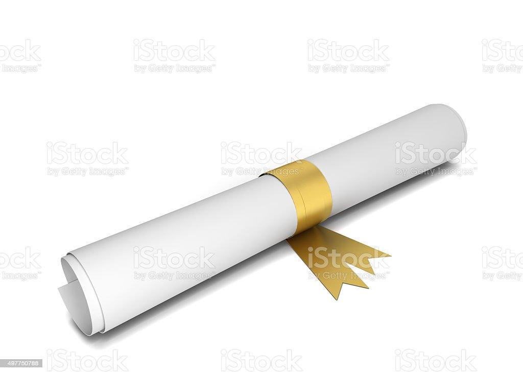 Paper diploma stock photo