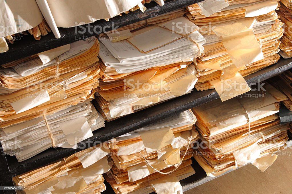 Paper documents in archive stock photo