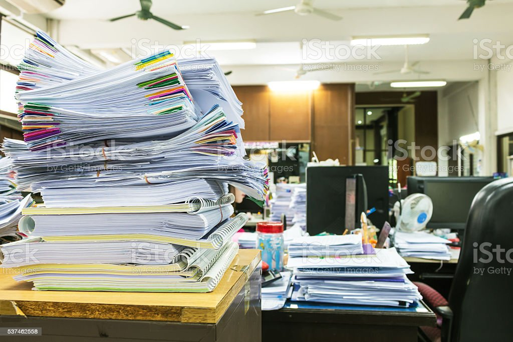 Paper documents stacked in archive stock photo