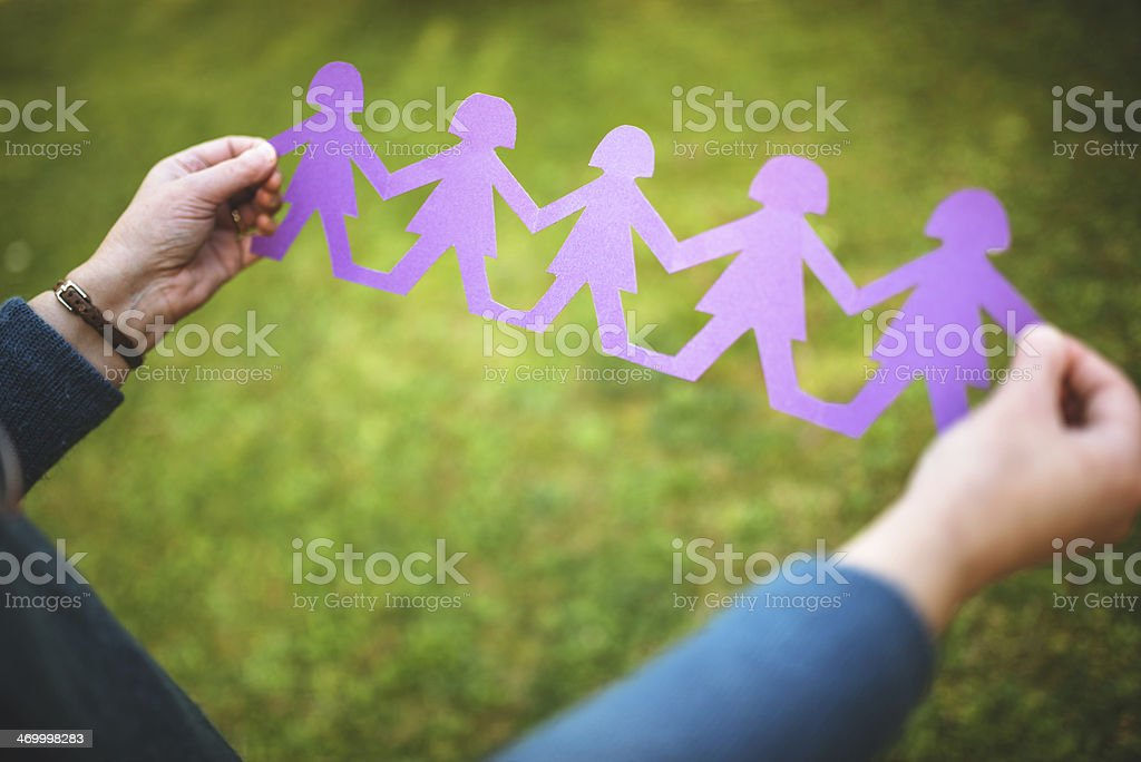 Paper doll community -  Teamwork concept royalty-free stock photo