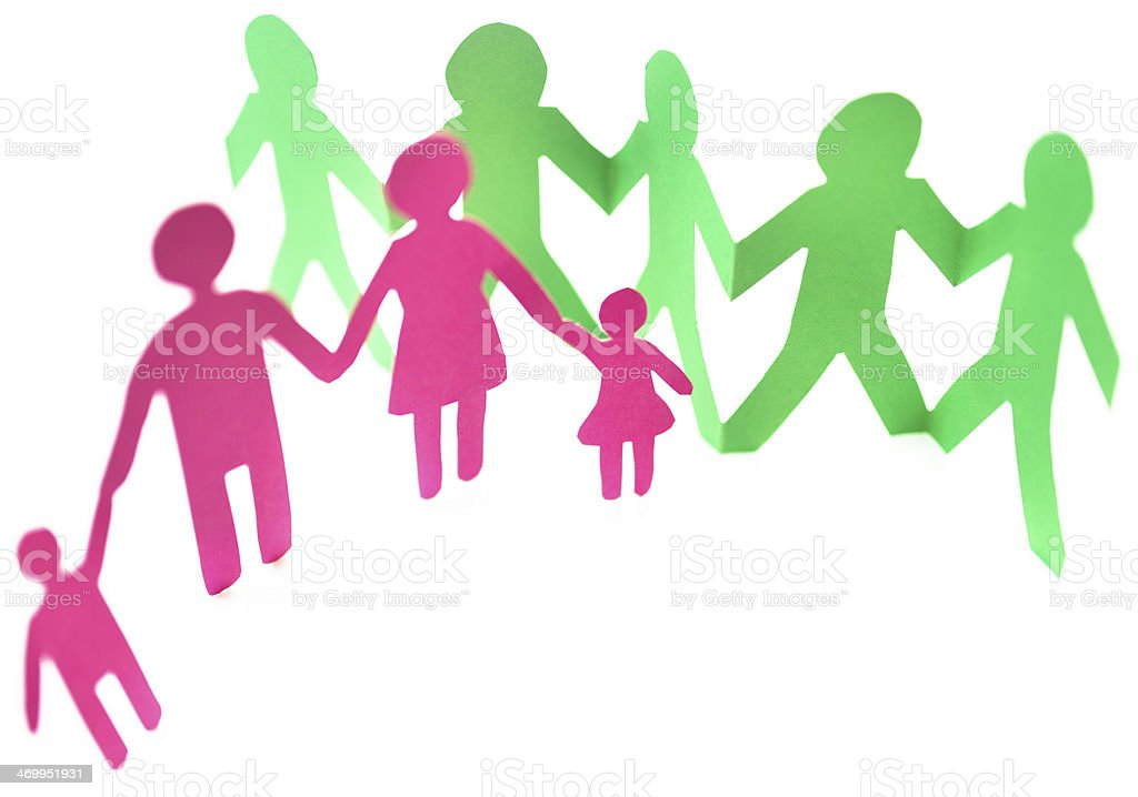 Paper dolls family royalty-free stock photo