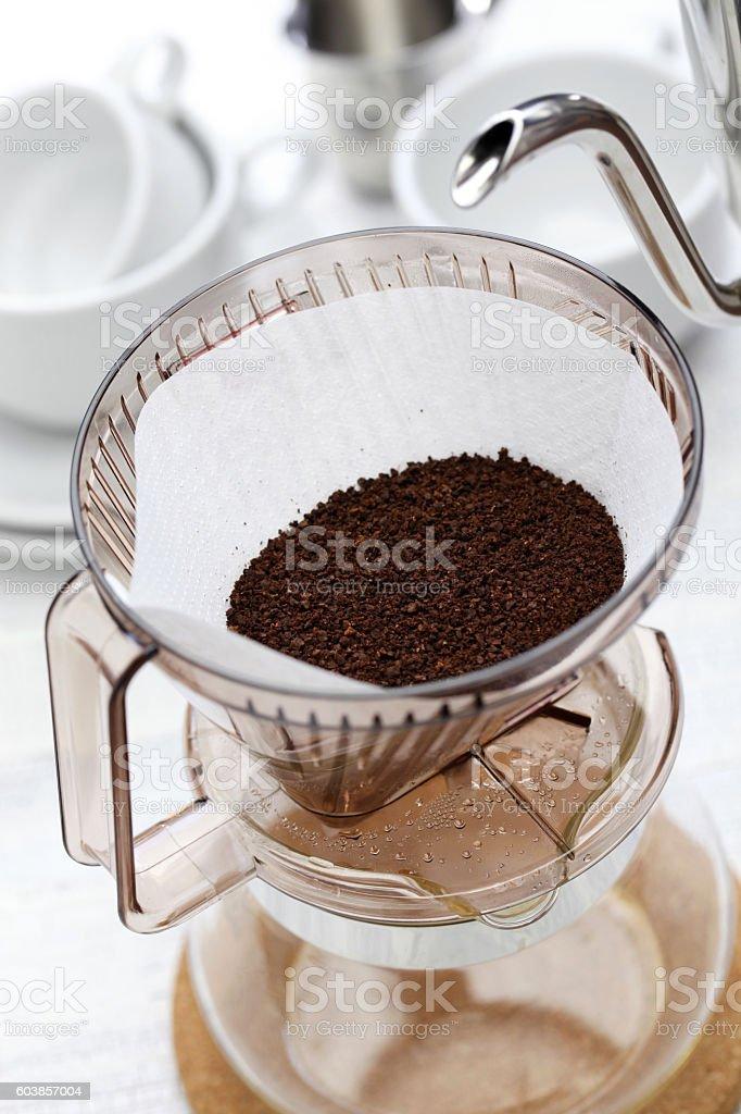 paper drip coffee stock photo