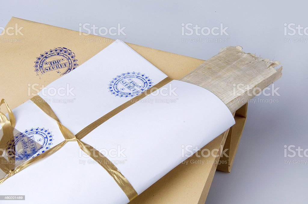 paper envelope stamped 'Top Secret' royalty-free stock photo