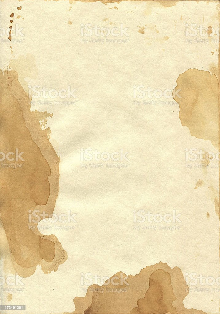 Paper evenly colored with patches of tea. royalty-free stock photo