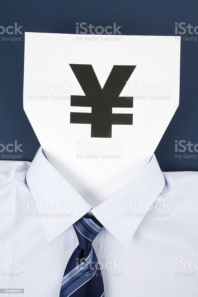 Paper Face and Yuan Sign stock photo