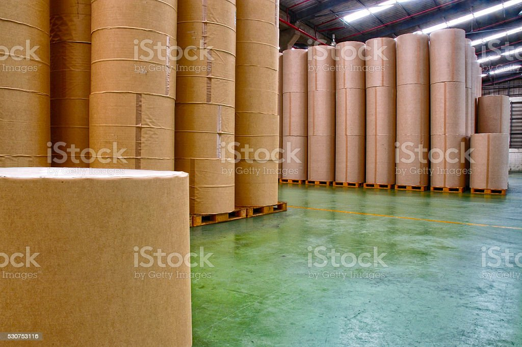 Paper factory, storage stock photo