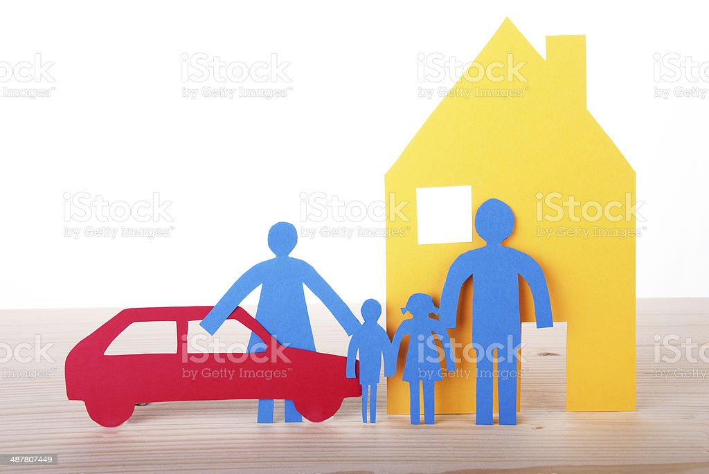 Paper Family with Car and House stock photo