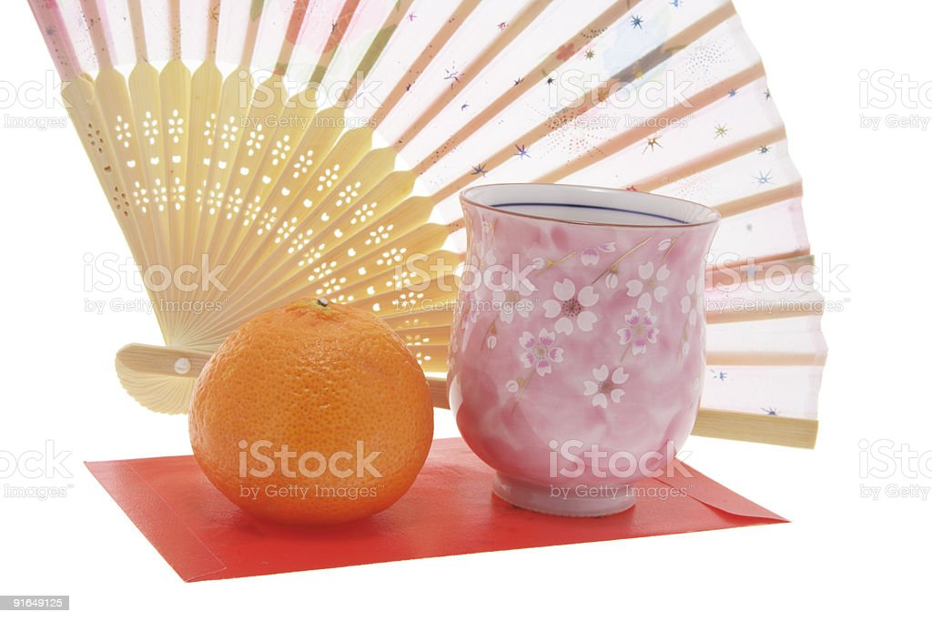 Paper fan, Teacup and Mandarin royalty-free stock photo