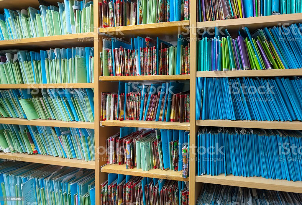 Paper files in the clinic stock photo