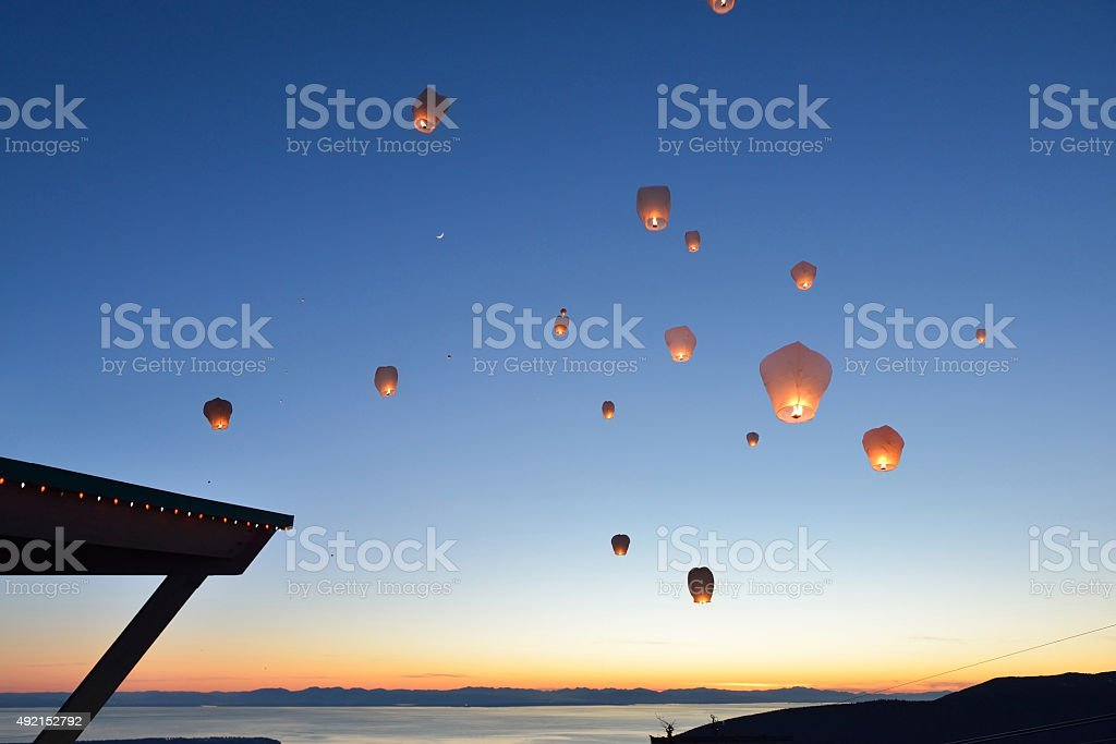 Paper Floating Lanterns release on Grouse Mountain stock photo