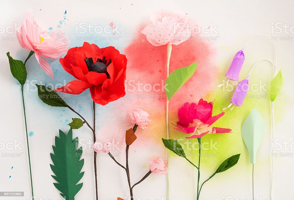 Paper flowers and watercolors stock photo