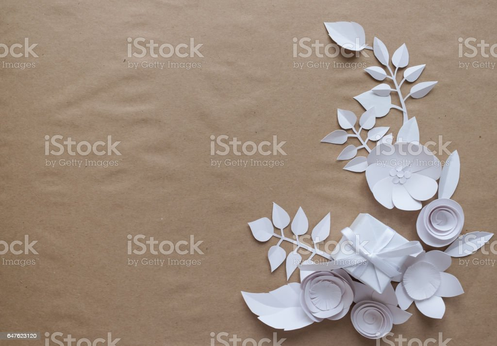 Paper flowers and white gift stock photo