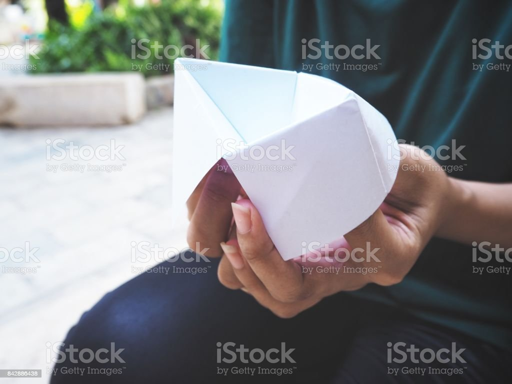 Paper fortune teller oh hands stock photo