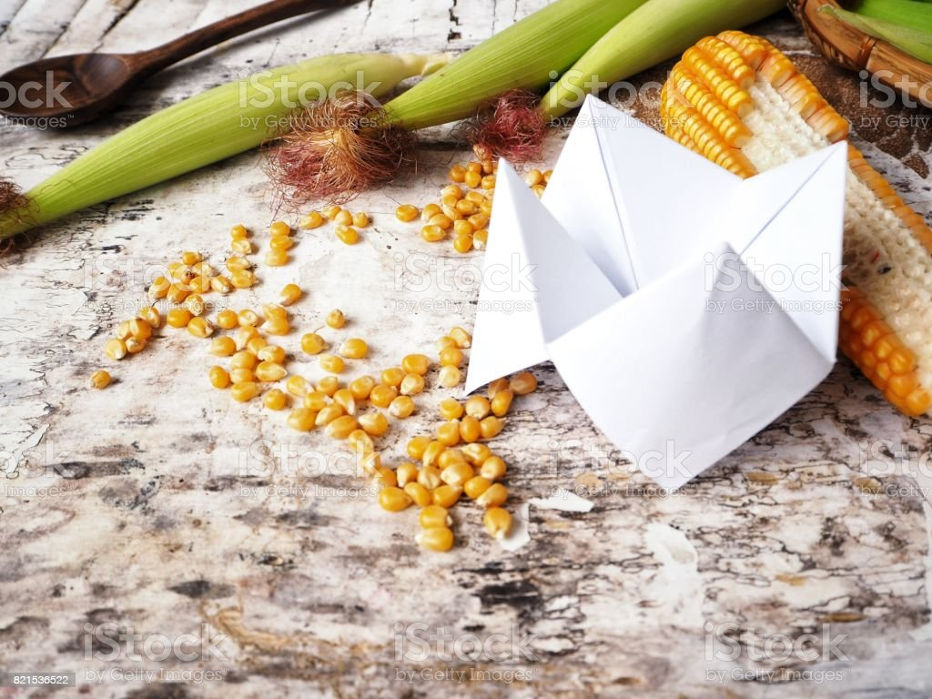 Paper fortune teller with dried corns stock photo