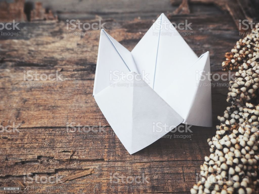 Paper fortune teller with dried flowers stock photo