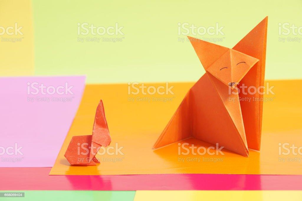 Paper fox origami isolated stock photo