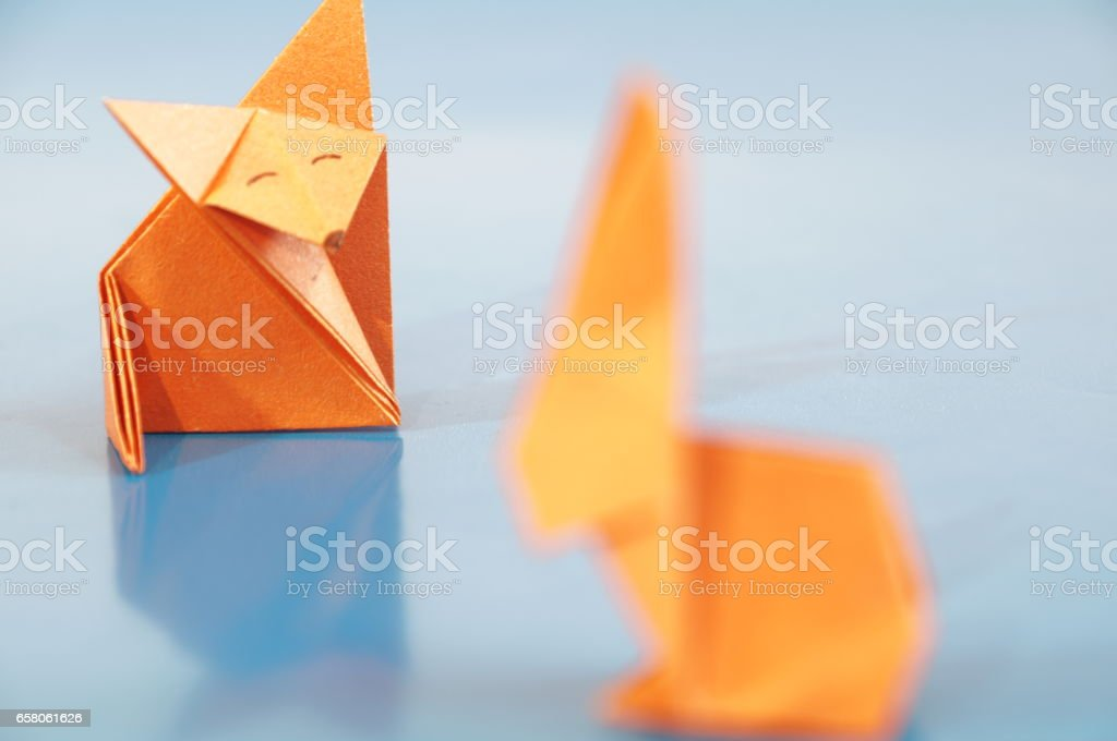 Paper fox origami isolated stock photo