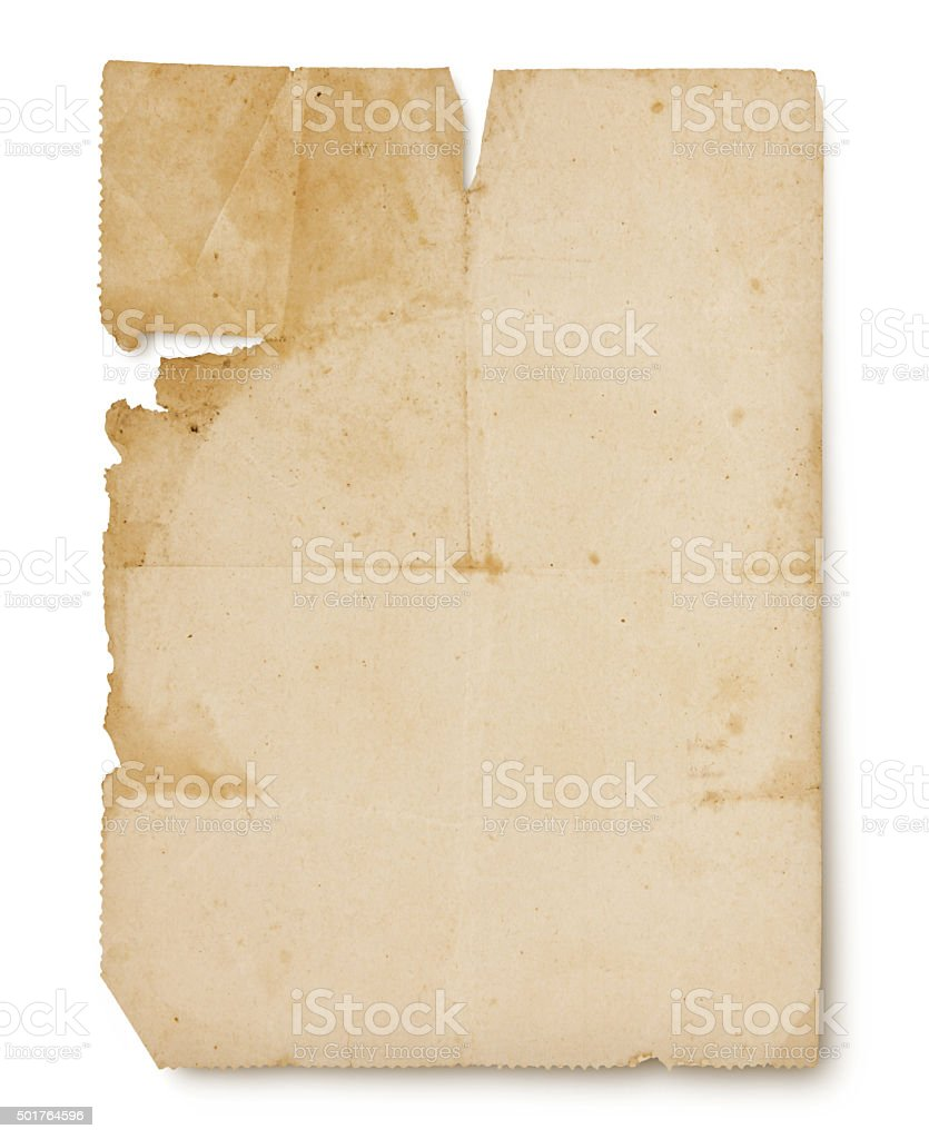 Paper from the 1920s (with path) stock photo