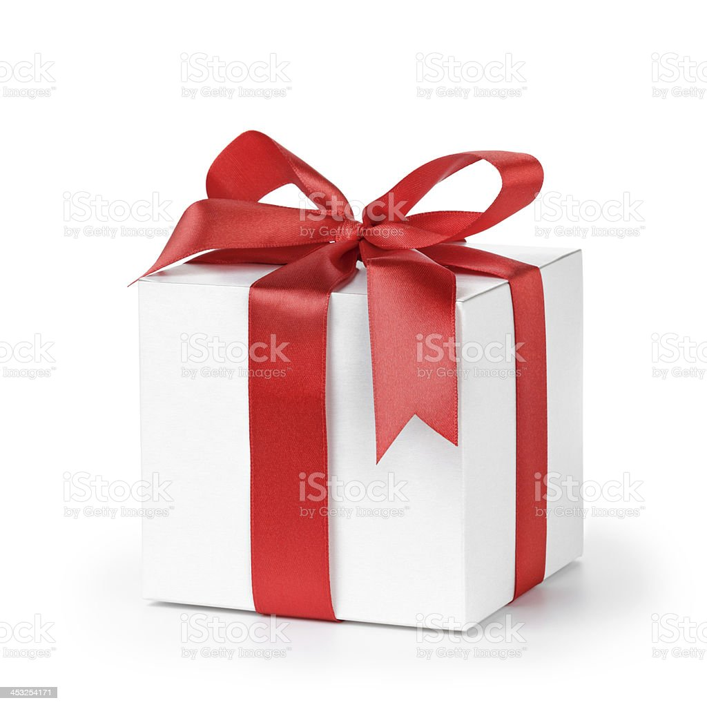 paper gift box wrapped with ribbon stock photo