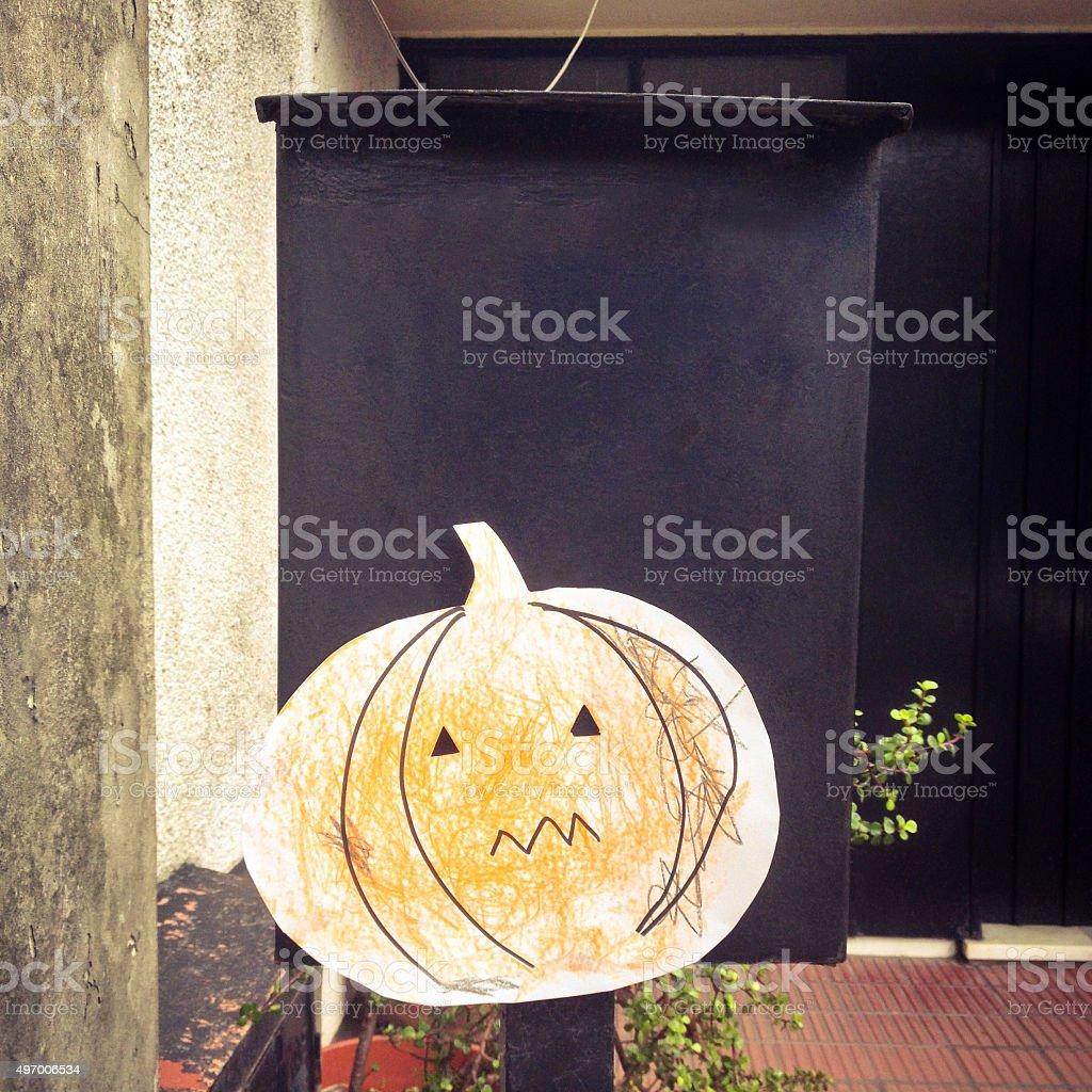 Paper halloween pumpkin stock photo