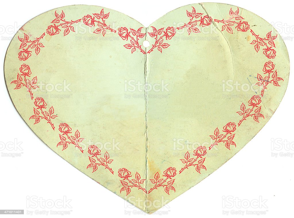 Paper Heart with Rose Borders royalty-free stock photo
