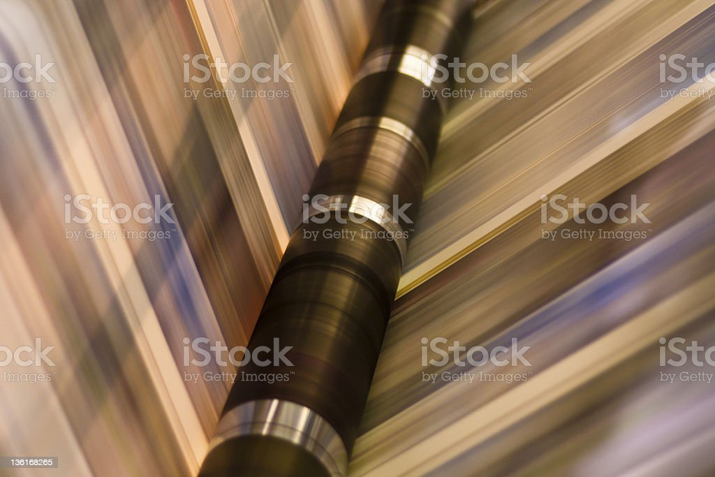 Paper in a printing press stock photo