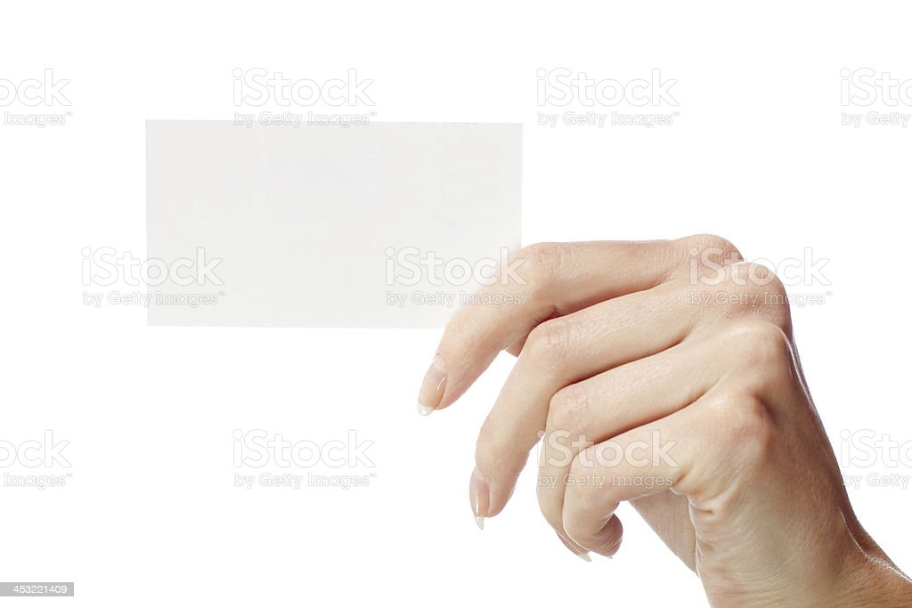 Paper in a woman's hand royalty-free stock photo