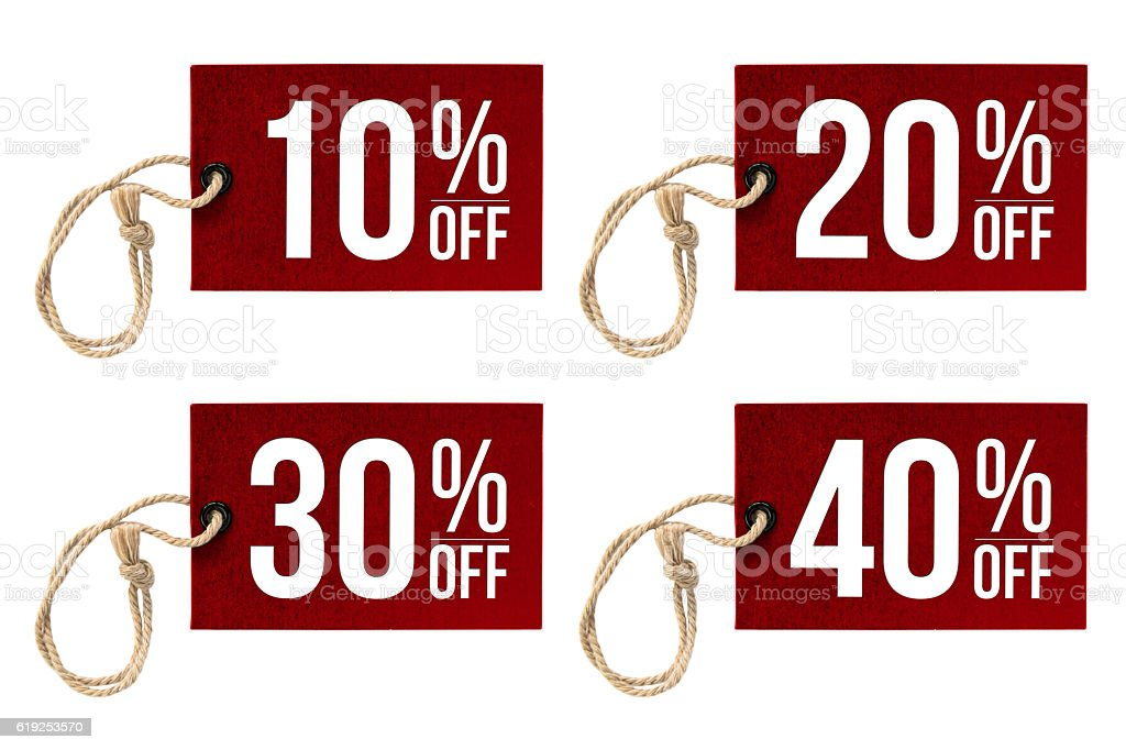 Paper labels (Tag) with different discount rates stock photo