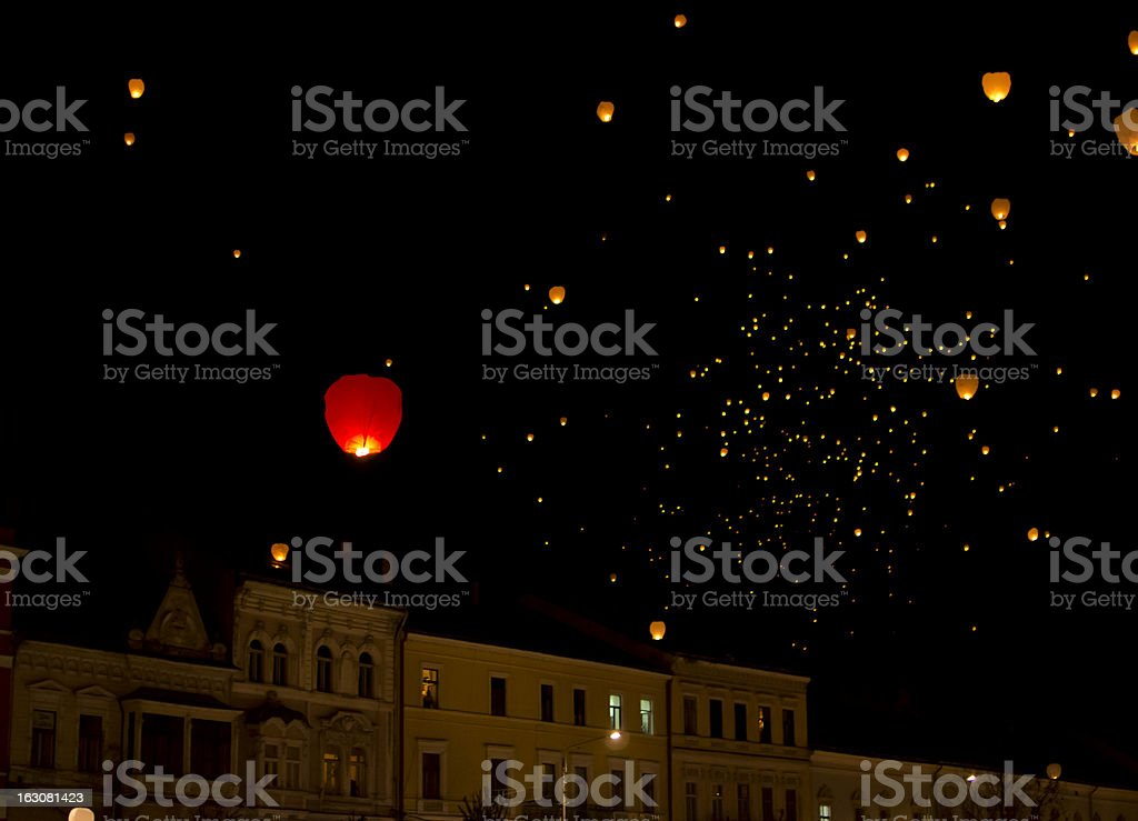 Paper lamps over Cluj-Napoca royalty-free stock photo