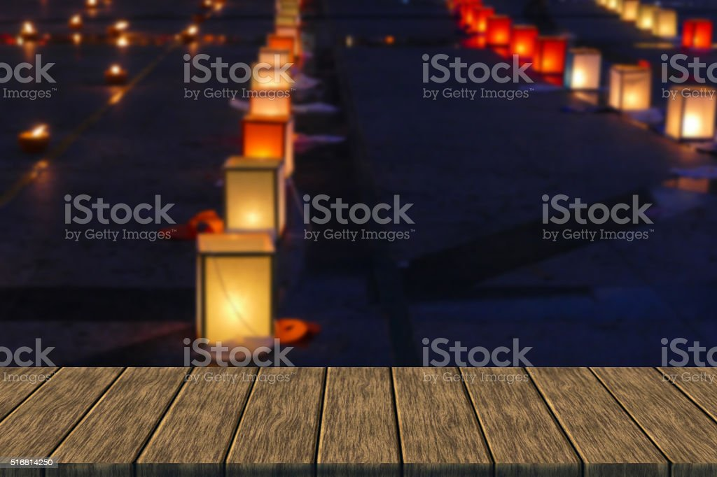 paper lantern and candle light in Yeepeng festival stock photo